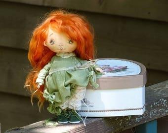 Art Cloth Doll. Cloth Doll  red hair, green cotton dress. Collectible OOAK handmade Small Doll. Artist Doll