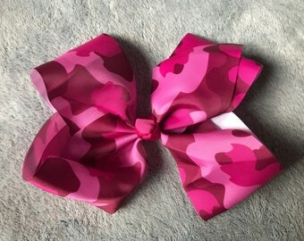 Pink Camo Knot Hair Bow