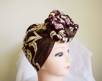 Brown and Cream Flames Ankara Head wrap, DIY head tie, Stylish African head scarf, Fabric hair accessory – Made to Order