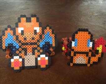 Pair of pokemon perlers on two kandi cuffs
