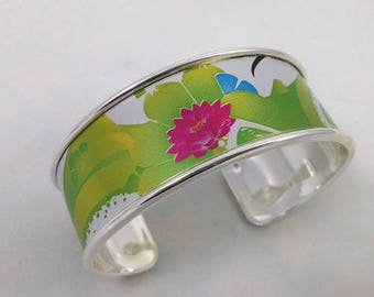Bobbin recycled green and silver Cuff Bracelet