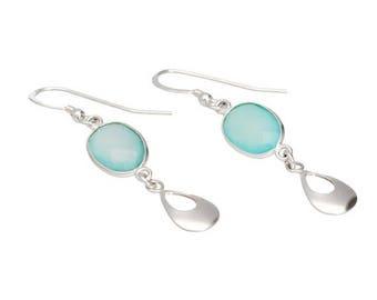 On Sale Chalcedony earrings, sterling silver, aqua blue chalcedony, dangle earrings, gemstone earrings, aqua earrings, blue green drop earri