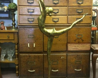 Signed Hattakitkolsol Somchai Brass Ballerina Dancer Sculpture