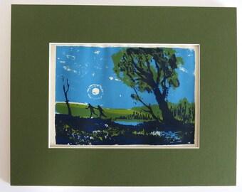 "1960s Modern Art John Mosiman Silk Screen Signed Print 8x10 ""SUNRISE, SUNSET"""