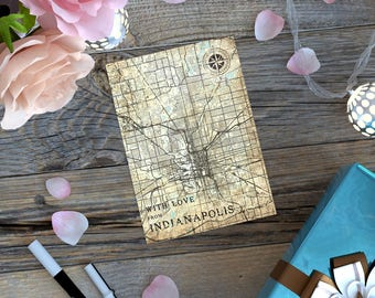 INDIANAPOLIS IN Gift Card Postcard Indiana Vintage map Retro Post Card City Map Thank you Note Card Greeting Card Gift Small Print Wall Art