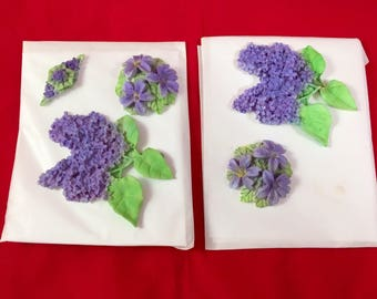 Lilac Fondant topper, Lovely Large Lilacs, 5 pieces, Made to order, Edible