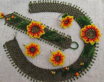 "Flower necklace. Set ""Sunflower"". Ukrainian jewelry."
