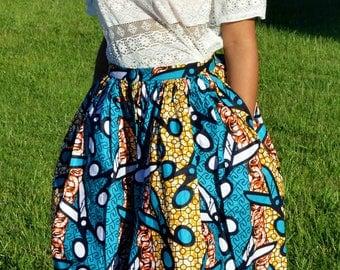 beautiful MIDI skirt in African print fabric
