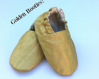 Baby Shoes - Metallic Gold  Soft Sole Baby Shoes - Baby Booties