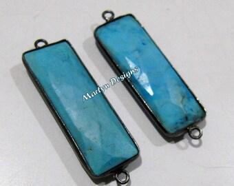1 pcs.- Best Quality Turquoise Magnesite Connector , Baguette Shape Connector , Black Plated Double Loop Briolette Bezel 30x12mm approx.