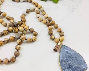 Picture jasper beaded necklace with Buddha style pendant and mini tassel • Fast and free shipping