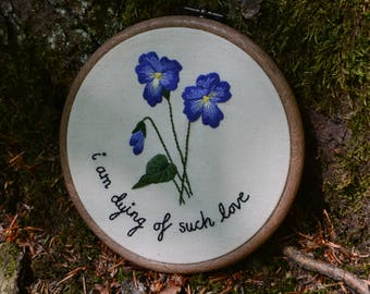 Sapphic violets love poetry embroidery hoop