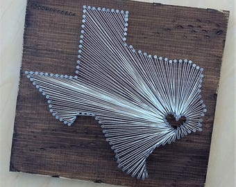Texas String Art, State String Art, Texas Nail Art, Rustic Decor, custom sign, Texas love, Texas home, Texas decor, 12x12