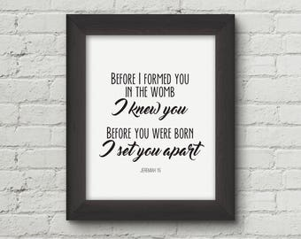Before you were born I knew you, Jeremiah 1:5, nursery art print, baby shower gift, Christian wall art - Digital Download