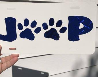 Jeep Paw Prints On White License Plate... Blue Diamond Plate Vinyl Decal