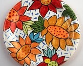 Handpainted Earthenware Floral Dinner Plate by Kristin Nicholas -Yellow, Red, Blue, Orange, Gold, Turquoise, Chartreuse, Green, Black