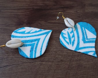 Blue and white fabric heart earrings