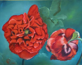 oil poppy paintings , red flower art , canvas wall hanging