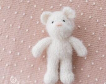 Teddy, Knitted Teddy, Photography prop, Off White Teddy, beige Teddy, Alpaca yarn.