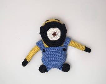 Amigurumi crochet minion, decorations, gift idea for her and him, birthday present, party decorations