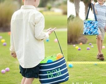 Easter Basket, Monogrammed Easter Basket, Personalized Easter Basket, Kids Easter Basket, Easter Bucket, Striped Easter Basket - EB1