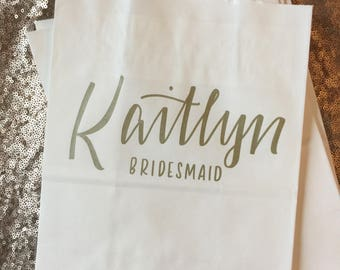 Bridesmaid Gift Bag Personalized with Name, Title, Summer Sale! Gold, White, Hand-lettered, Customized, Bridesmaid Gift, Groomsmen, Names, T