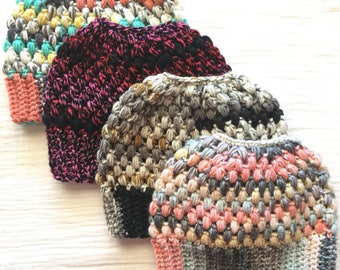 Custom messy bun beanie crochet ponytail hat for women textured topknot hat adult crochet hat