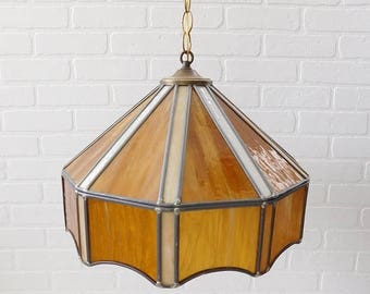 20% OFF SALE - Vintage Tiffany Style Swag Lamp, Beige Brown Slag Glass Swag Lamp, Tiffany Chandelier