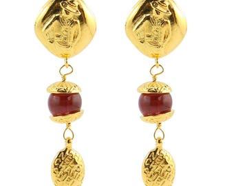 Chanel Vintage Red Gripoix Pate-de-Verre Gold Mademoiselle Drop Earrings c. 1990 (Clip-on)