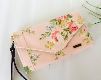 Envelope wallet, Womens wallet, Pink Wallet, Fabric handmade wallet, Rose clutch wallet, Long Wallet, Flowers wallet, Gifts for her