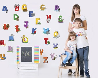 Kids Wall Decal Alphabet Cartoon Letters for Childrens' Room, Back to School Wallpaper Stickers, A to Z Cartoon Letters,ABC's, 1052_large