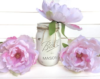 Flower Pen Set - Ivory White Mason Jar with Light Pink Peony Flower Pens Distressed Rustic Shabby Chic Gift for Her Mothers Valentines Day