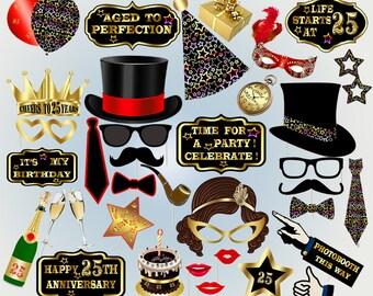 25th Birthday party 25th birthday photobooth props birthday party hats mustache lips birthday photobooth party photo booth props black props