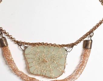 Copper wire and sea glass necklace