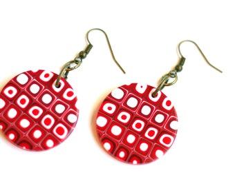 Valentine's Day earrings Red earrings for women Dangle and drop earrings Red Geometric earrings Modern earrings Fimo jewelry Fashion jewelry