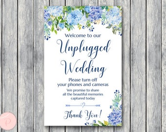 Blue Hydrangea Unplugged Wedding Sign, Unplugged Ceremony Sign, Printable Wedding Sign, Printable sign, Wedding decoration sign TH84