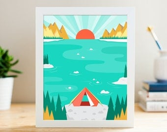 "Let's Camp! // 8x10"" Archival Print // Digital Illustration"