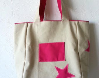 Reversible Fuchsia and unbleached cotton canvas tote bag