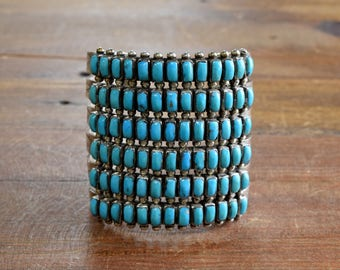 Vintage Zuni Sterling Silver And Turquoise Six Row Cuff Bracelet