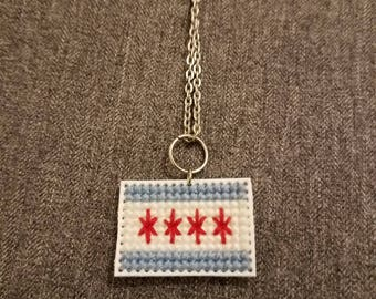 Chicago Flag Necklace