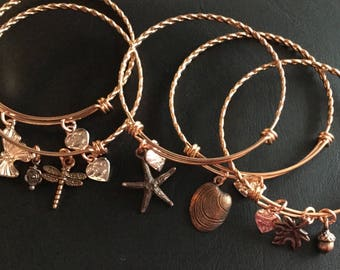 Stainless steel rose gold bangles