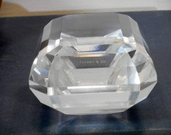Tiffany & Co. Crystal Paperweight, Faceted Crystal Paperweight, Glass Paperweight, Vintage Desk Accessories, Home Office Decor