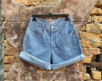 FOR MELANIE •••• Vintage GUESS by Georges Marciano Blue and White Striped Button Fly High Waisted Denim Shorts | medium | 28 | 29