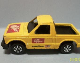 """Dr. Pepper Tootsietoy Chevy S-10 Yellow Pickup Truck  Pressed Steel and Plastic  Truck  - Lots of Paint Chips 4"""" Long"""