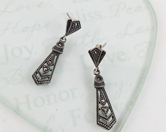 """Victorian earrings Sterling silver earrings Marcasite earrings silver heart dangle earrings stud 1 1/2"""" PD2818"""