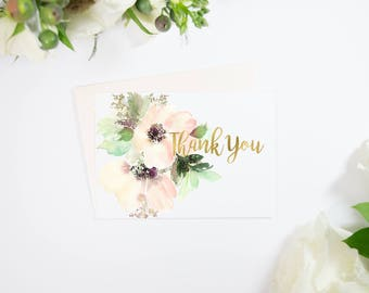 Gold Foil Watercolor Flower Thank You Cards, Pink, also comes in Rose Gold, Silver, or Copper Foil