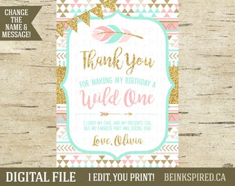 Wild One Thank You, Wild One Thank You Card, Printable Photo Thank You Card, Wild One Birthday, Pink Mint Gold Glitter, OLIVIA, DIGITAL FILE