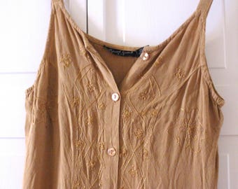 Vintage dress cream/gold embroidered button-down boho tank maxi dress