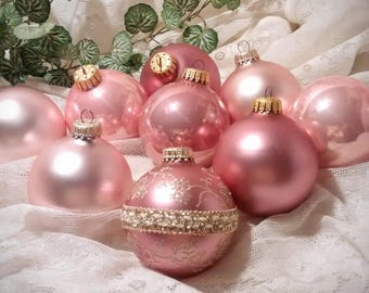 Krebs Glass Christmas Ornaments in Rose Pink – Collection of 9
