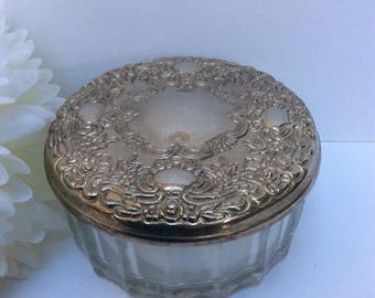 On Sale Vintage silver and glass powder box. Engravable. Hollywood glamour.